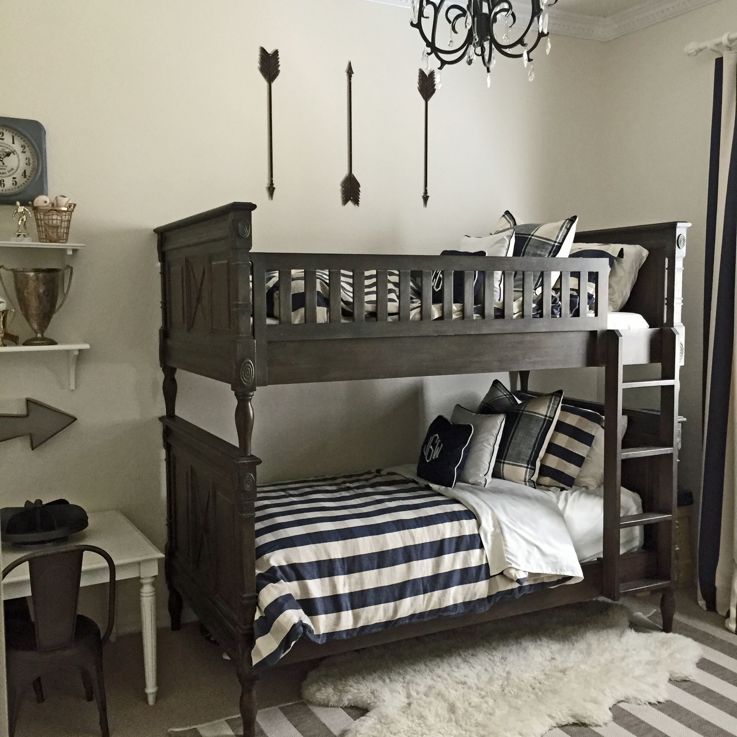 restoration hardware bunk bed in little boys bedroom with arrows and buffalo check bedding