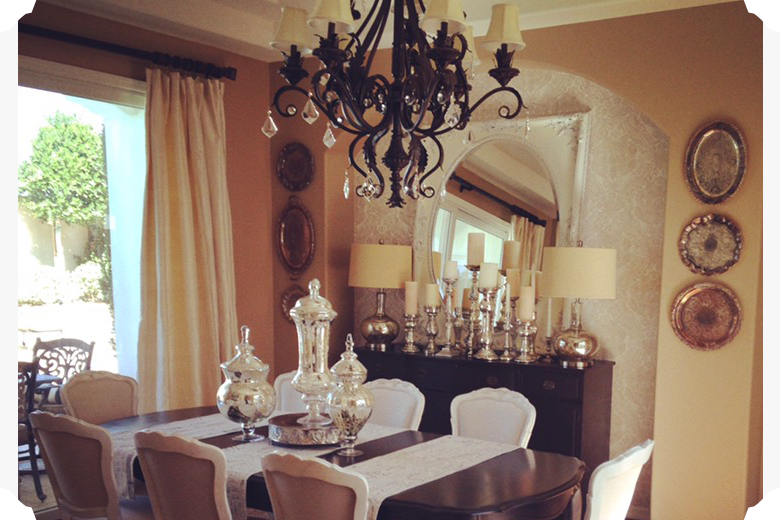 Dining Room With French And Vintage Furniture Silver Platters, And Mercury  Glass Apotharcary Jars_edited