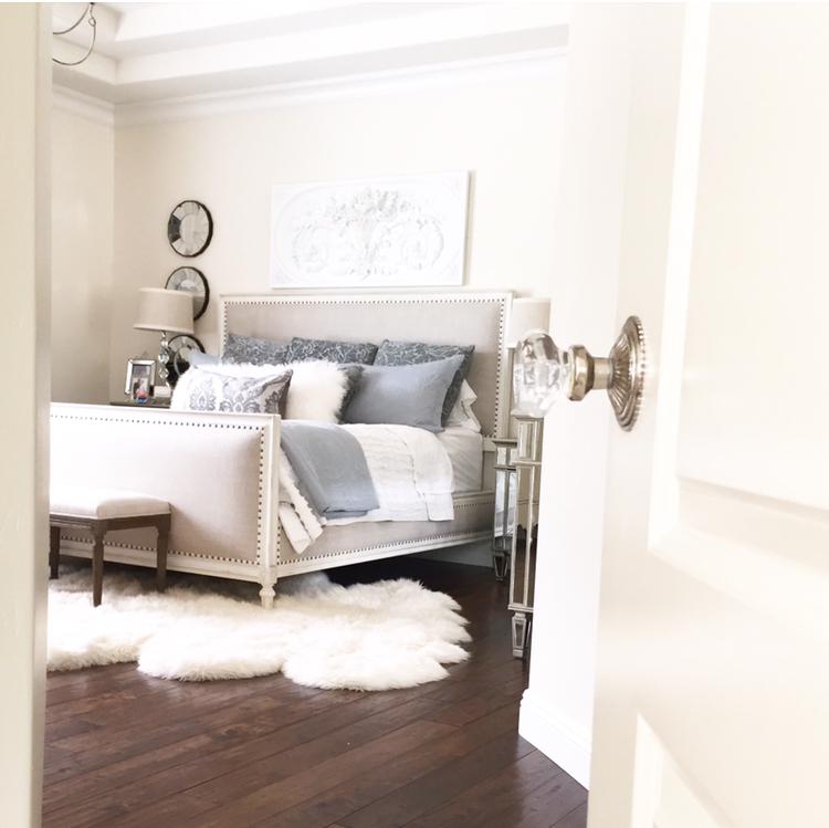 easy bedroom restoration hardware bed white walls fur rug crystal door knob