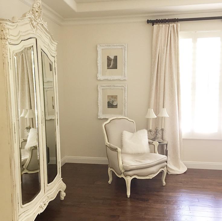 easy white master bedroom make over french furniture, white walls, dark wood floors