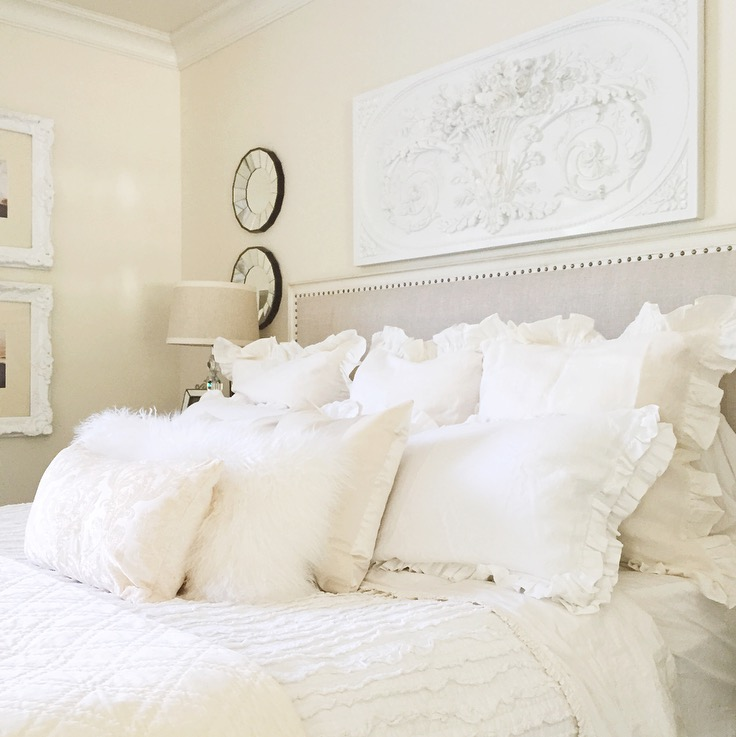 easy white master bedroom restoration hardware bed ballard design mirrors, plaque, ruffled pillows white walls
