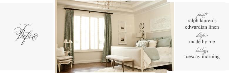 master bedroom with restoration hardeware bed, ballard design plaque, fur rug, french furniture before