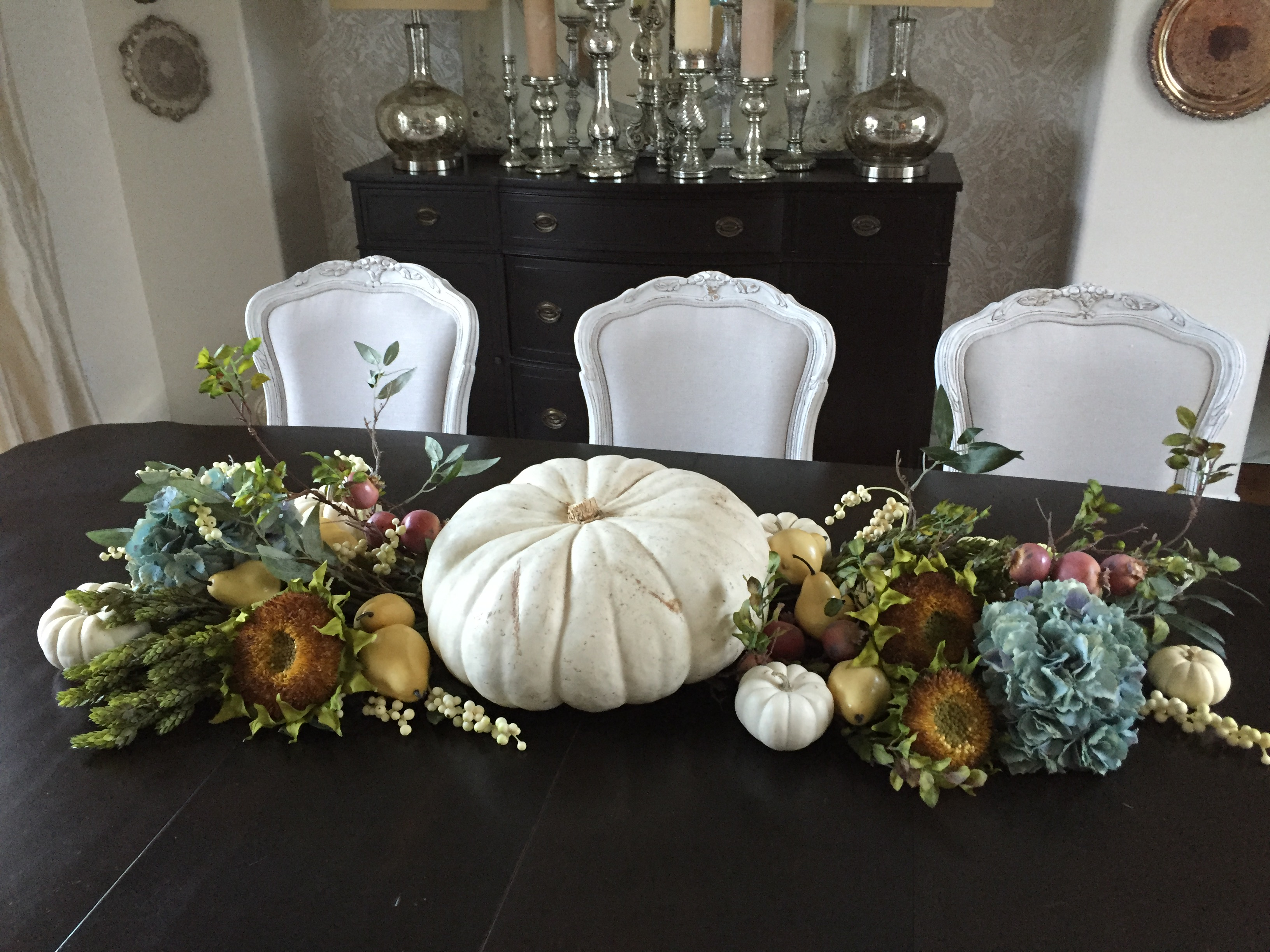 simple thanksgiving tablescape white pumpkin