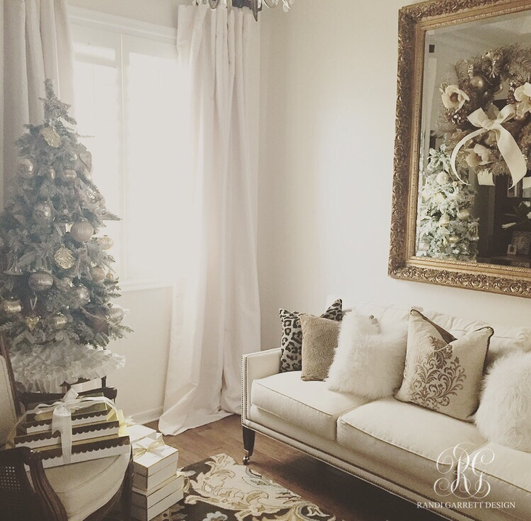 Elegant Christmas den with tabletop Christmas tree