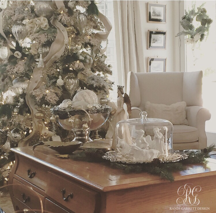 Elegant Christmas family room with flocked Christmas tree by Randi Garrett Designs
