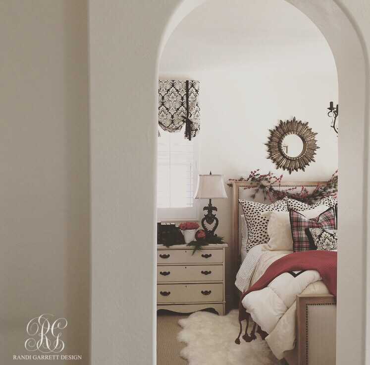 Red, white and black Christmas bedroom