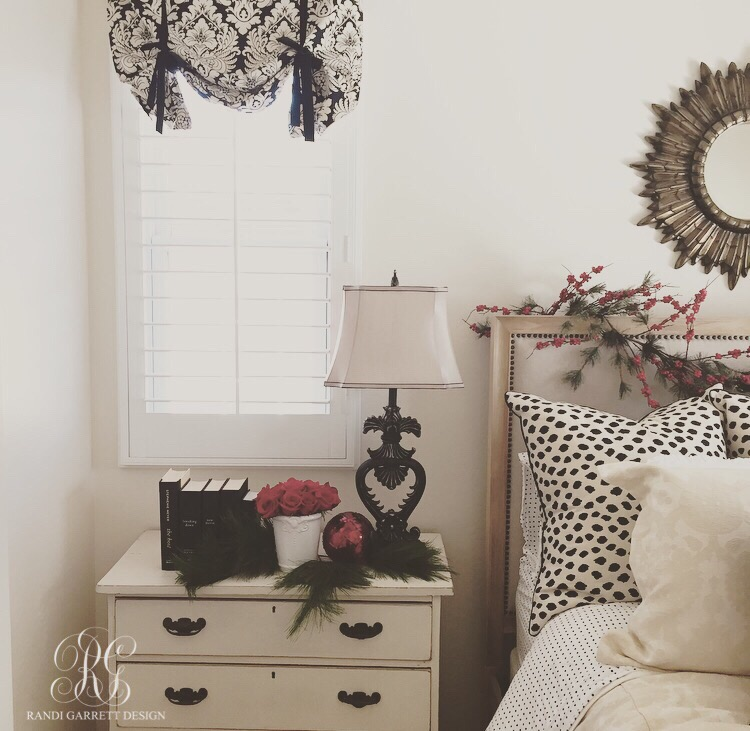 Red, black and white Christmas bedroom by Randi Garrett Design