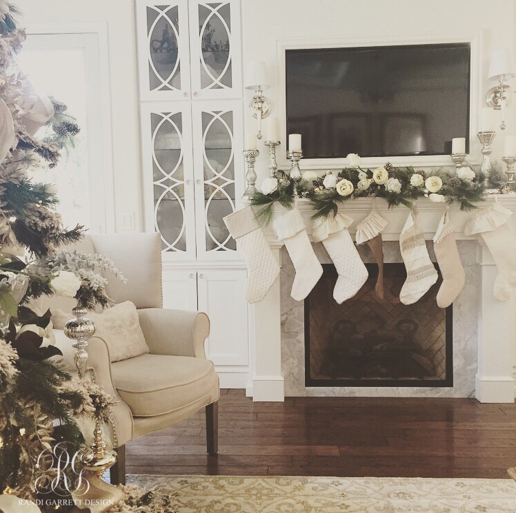 Christmas mantle and DIY ruffled Christmas stockings