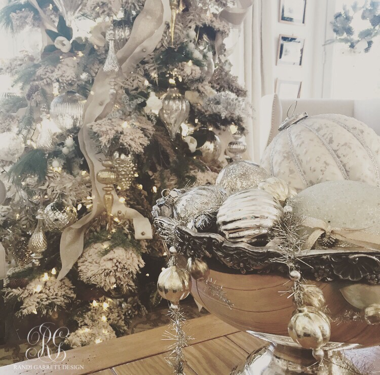 Mercury glass ornaments in vintage silver punch bowl, flocked Christmas tree