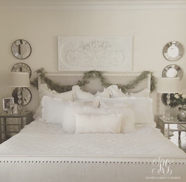 Elegant white Christmas master bedroom by Randi Garret Design
