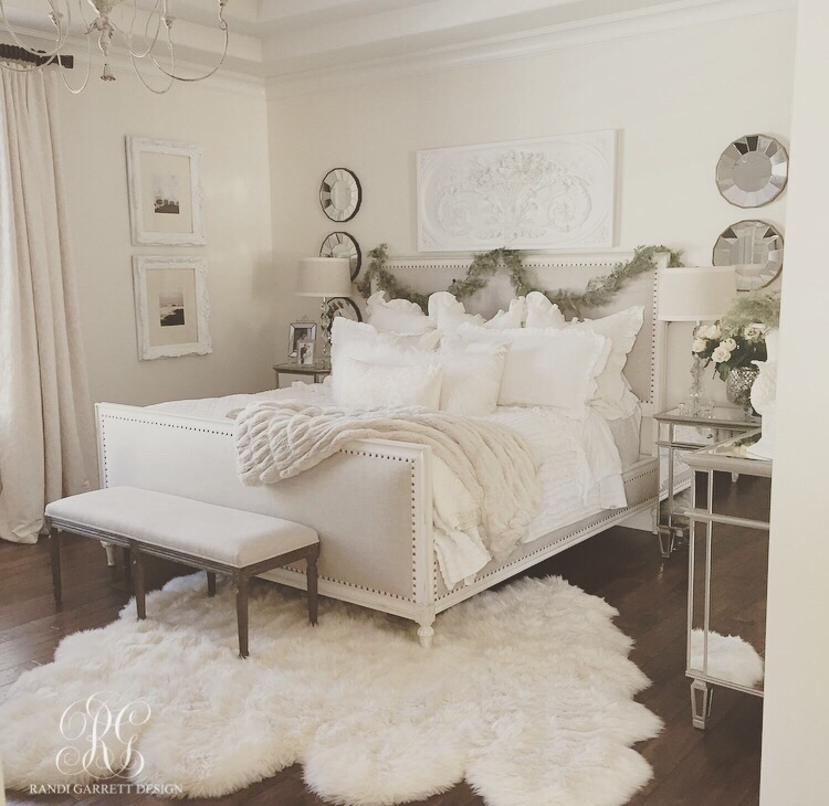Elegant white Christmas master bedroom by Randi Garrett Design