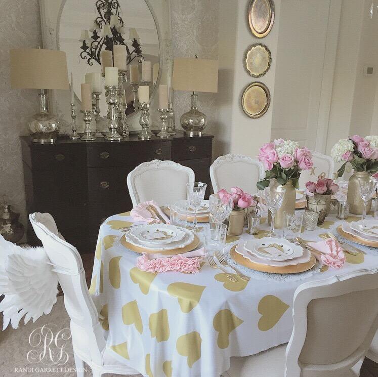 Pink and gold Valentine's Day party using Randi Garrett Design jumbo heart fabric