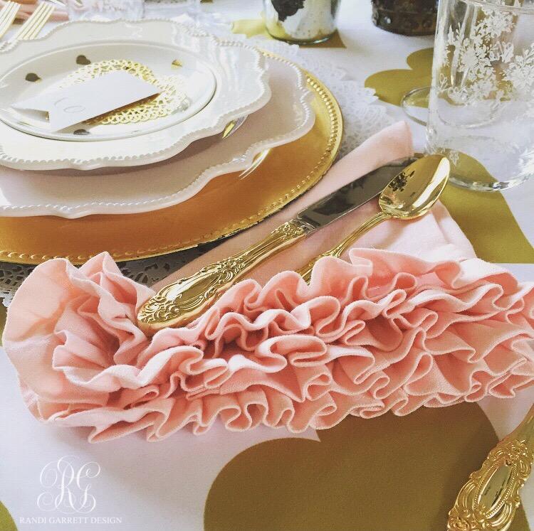 Pink linen ruffle napkings from Randi Garrett Design's Valentine party