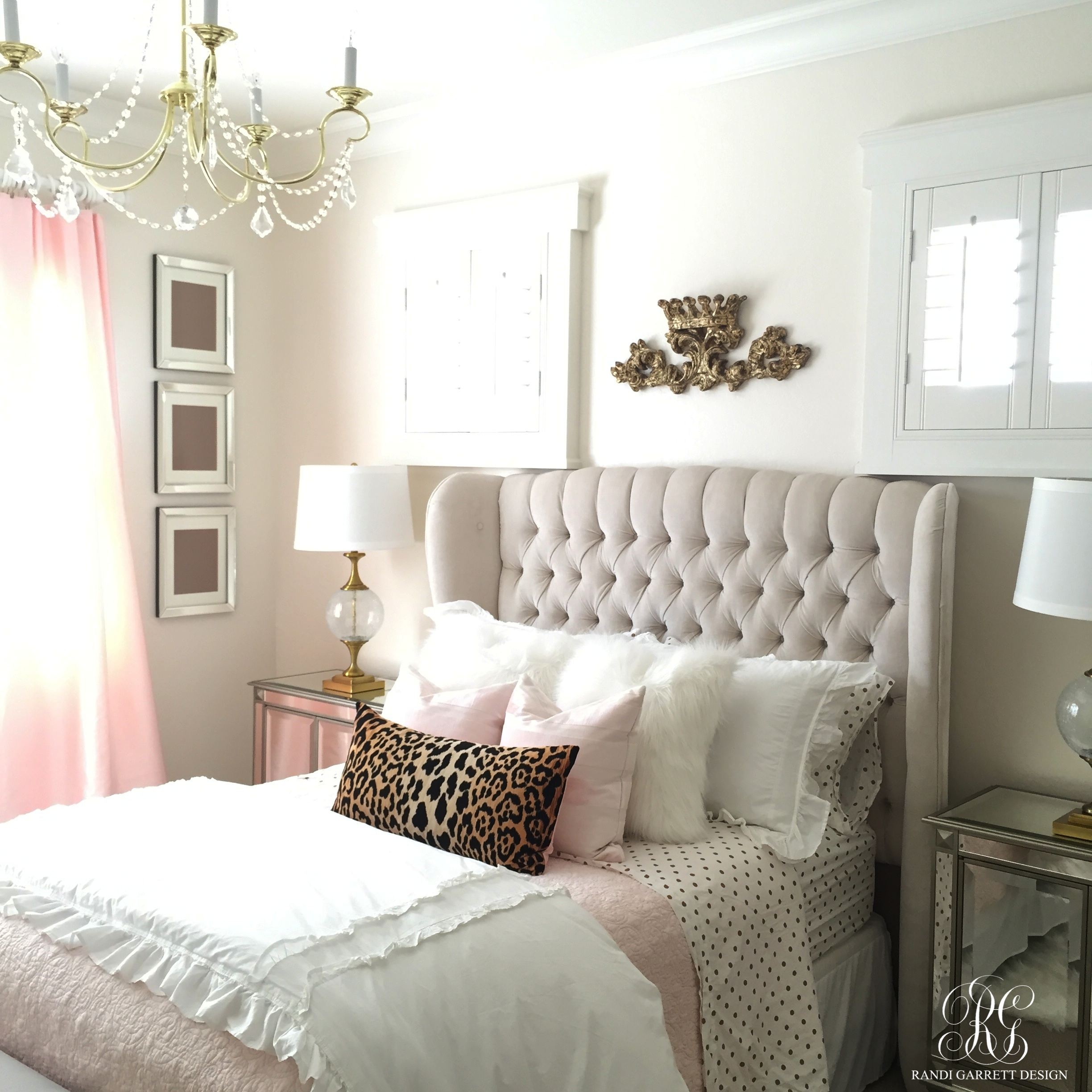 Pink and gold girl 39 s bedroom makeover randi garrett design for Pink grey and white bedroom ideas