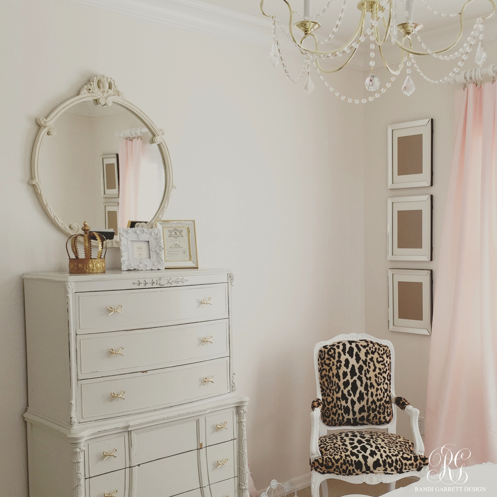 Pink and gold bedroom by Randi Garrett Design with velvet leopard chair