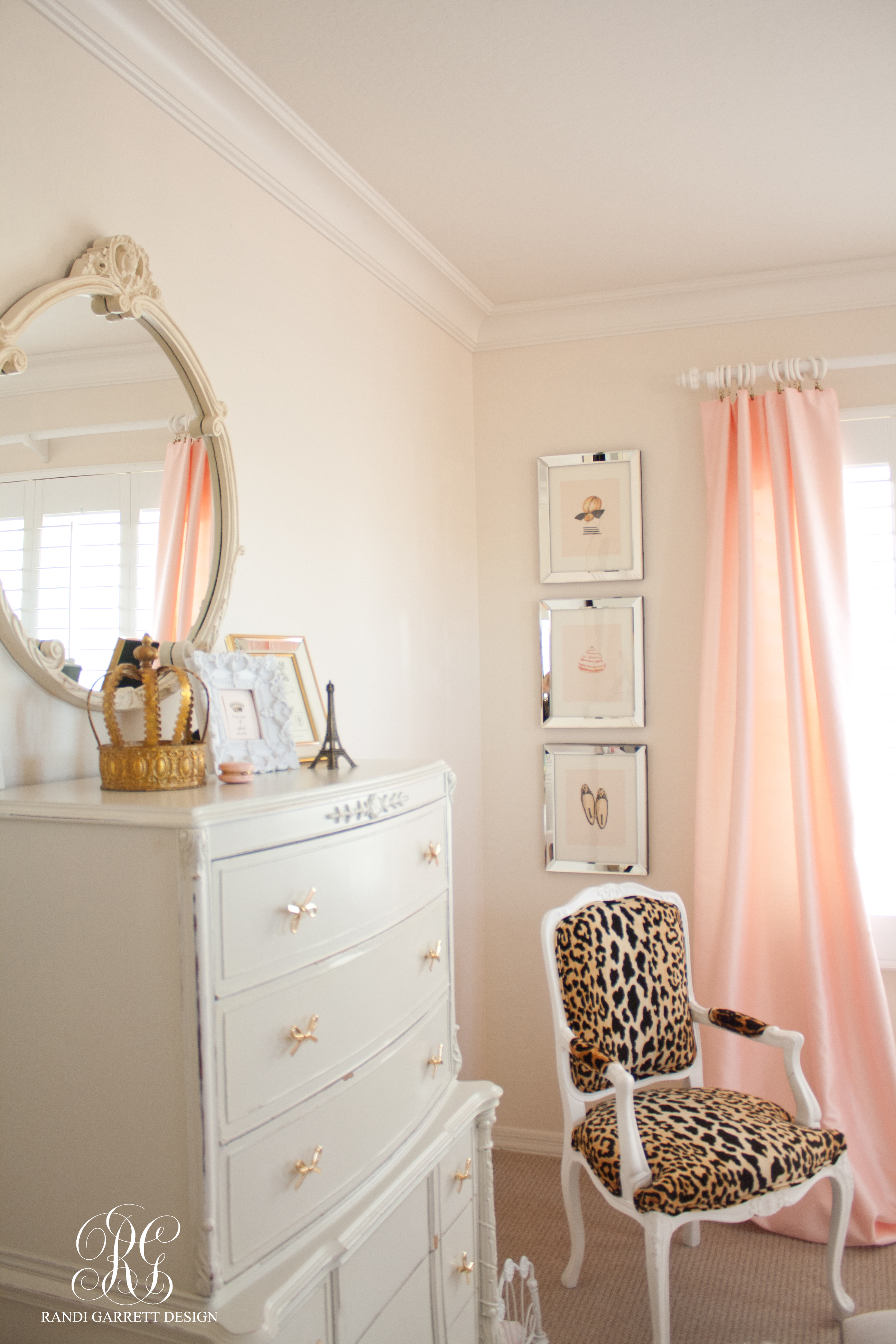 Pink silk drapes and leopard chair by Randi Garrett Design