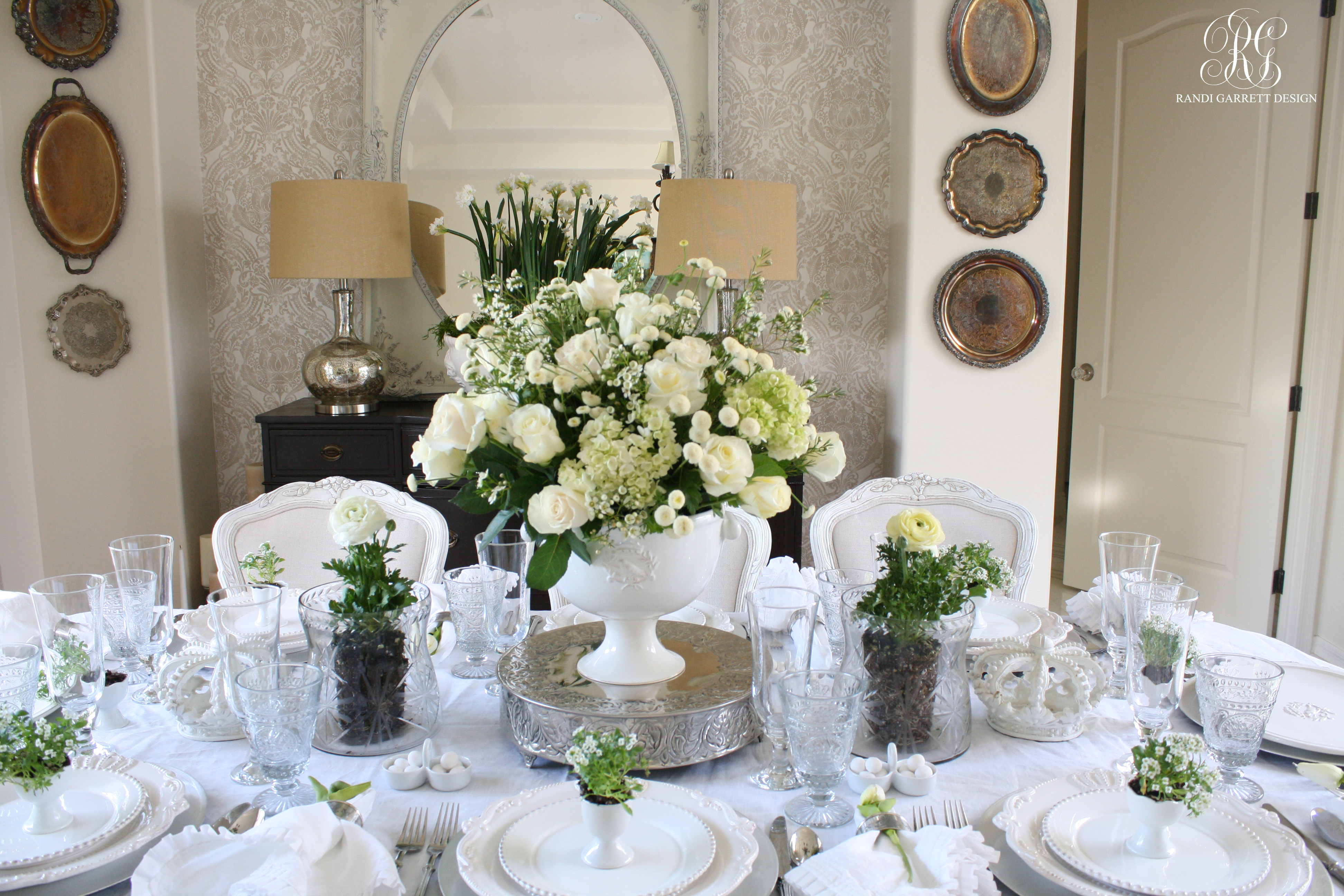 White Easter Tablescape