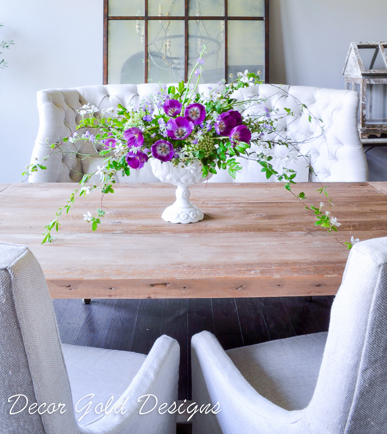 Dining Room with Floral Arrangement white vase challenge