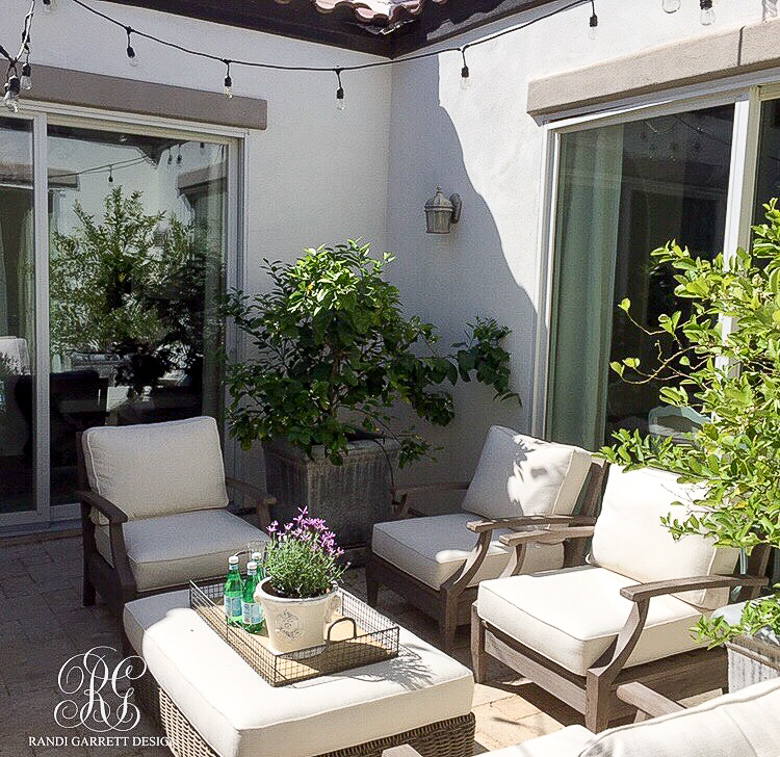 Randi Garrett Design spring courtyard with Restoration Hardware outdoor furniture