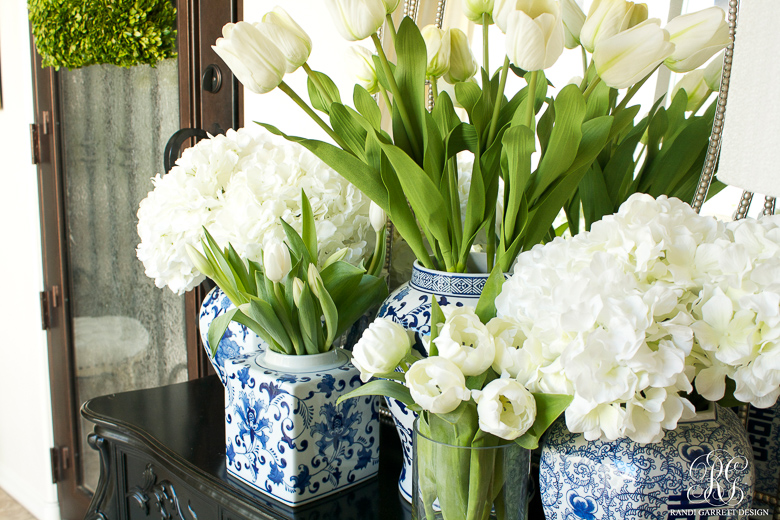 Spring Entryway with blue and white ginger jars- Randi Garrett Design