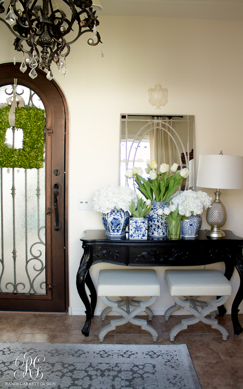 Blue And White Ginger Jar Arrangement For Spring By Randi Garrett Design Entryway One Room