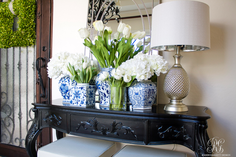 Spring Entryway With Blue And White Ginger Jars By