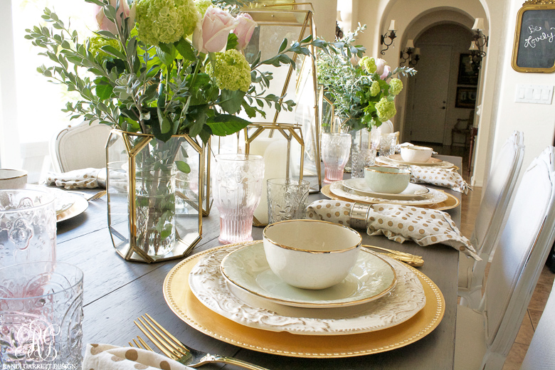 Pink and Gold glam Mother's Day tablescape by Randi Garrett Design
