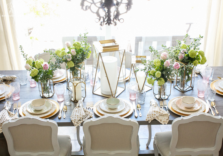 Pink and gold Mother's day Tablescape by Randi Garrett Design