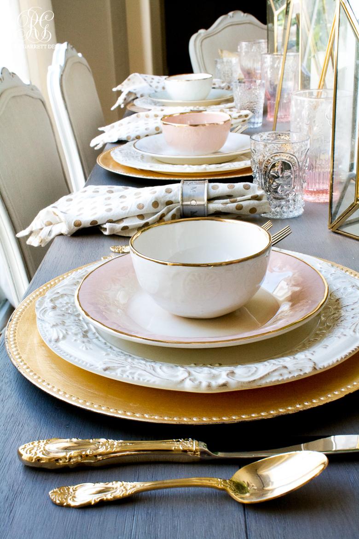 Gold rimmed dishes Randi Garrett Design