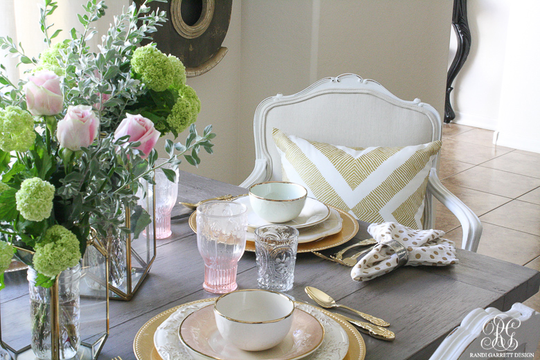 Pink and gold glam tablescape by Randi Garrett Design