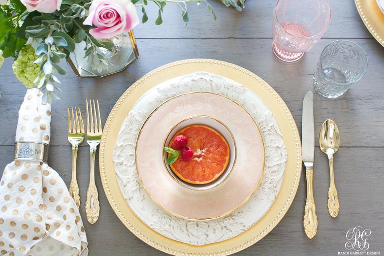 Randi Garrett Design pink and gold tablescape and brunch