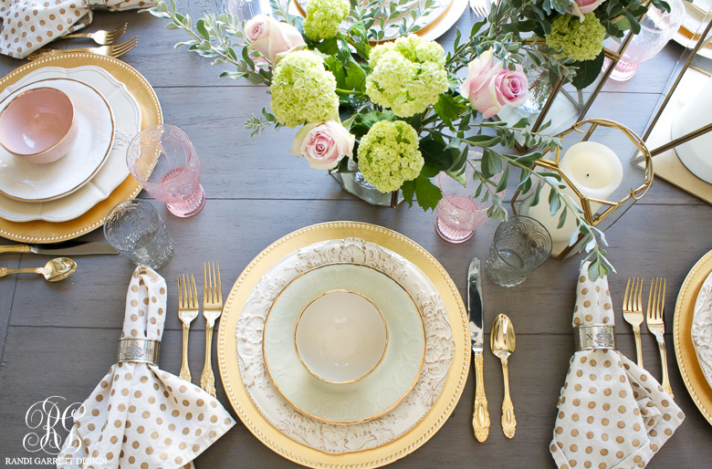 mothers day table place setting by Randi Garrett Design pink and gold glam