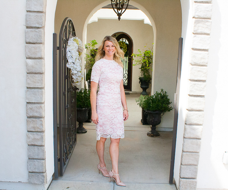 Pink lace semi formal dress for summer