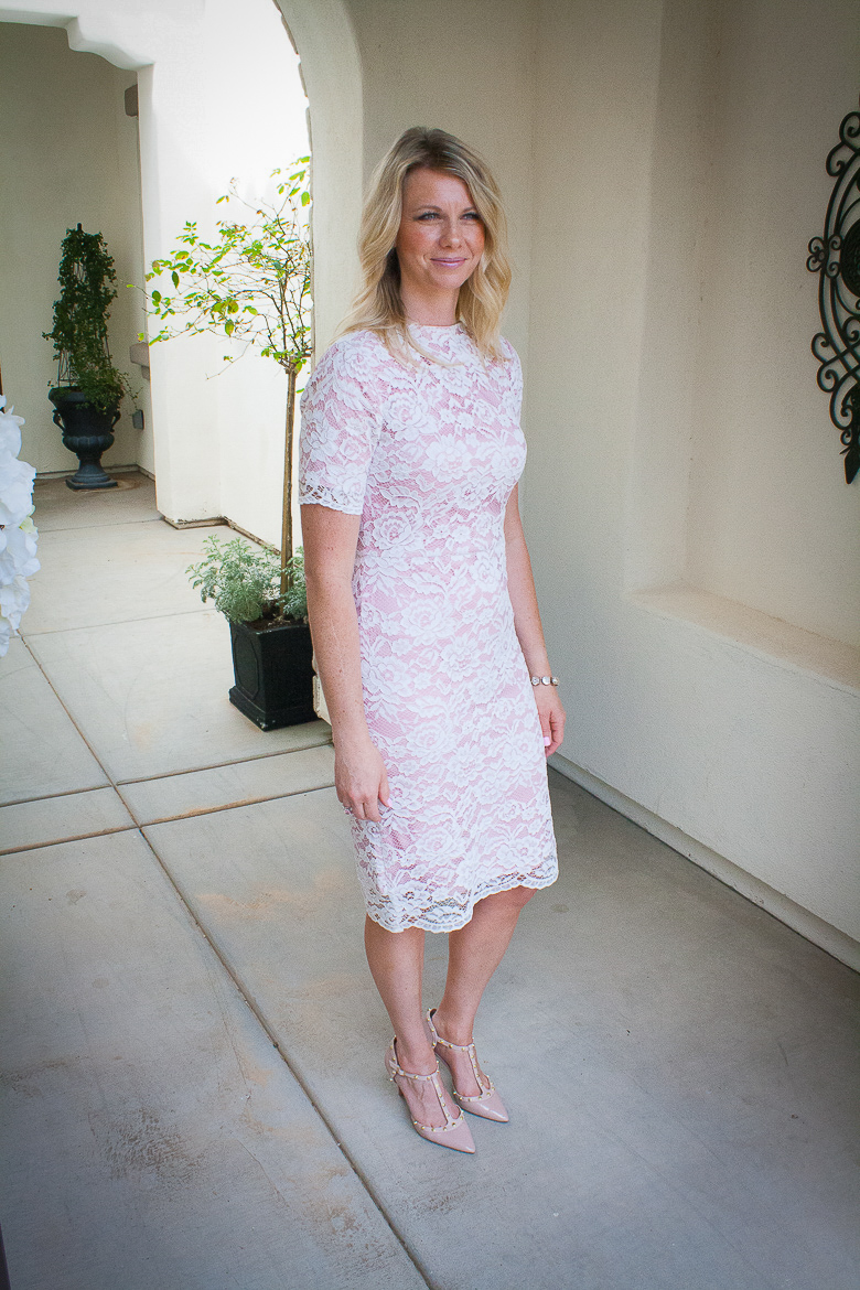 pink lace summer dress