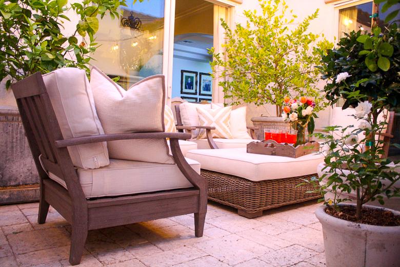 Restoration Hardware outdoor furniture, elegant outdoor dinner by Randi Garrett Design