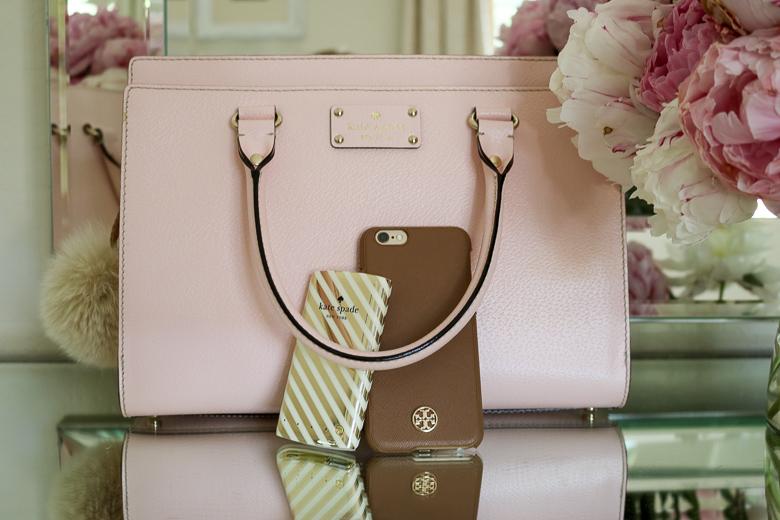 Tory Burch phone case, pink Kate Spade purse