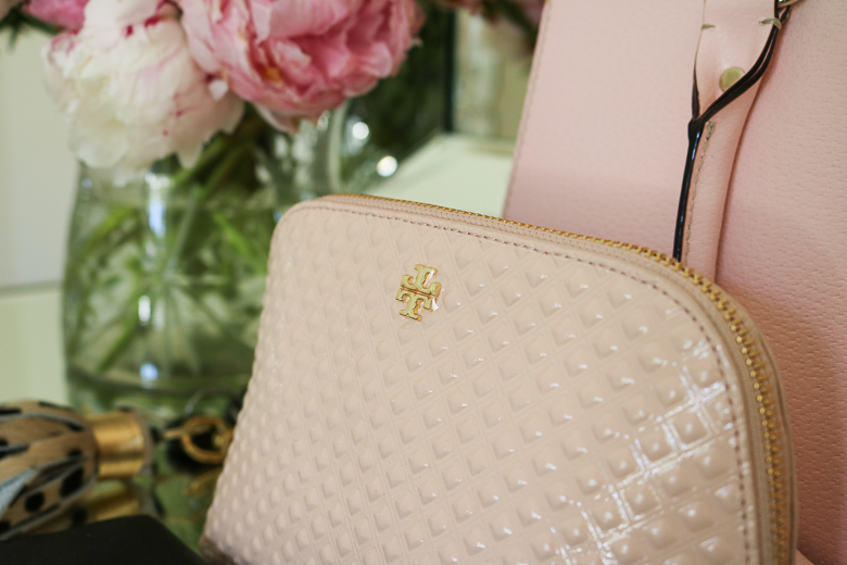 Pink Tory Burch cosmetic bag, summer purse essentials