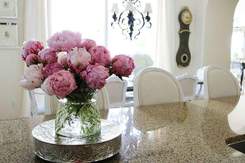 kitchen with pink peonies