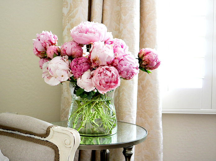 Pink Peonies in romantic master bedroom