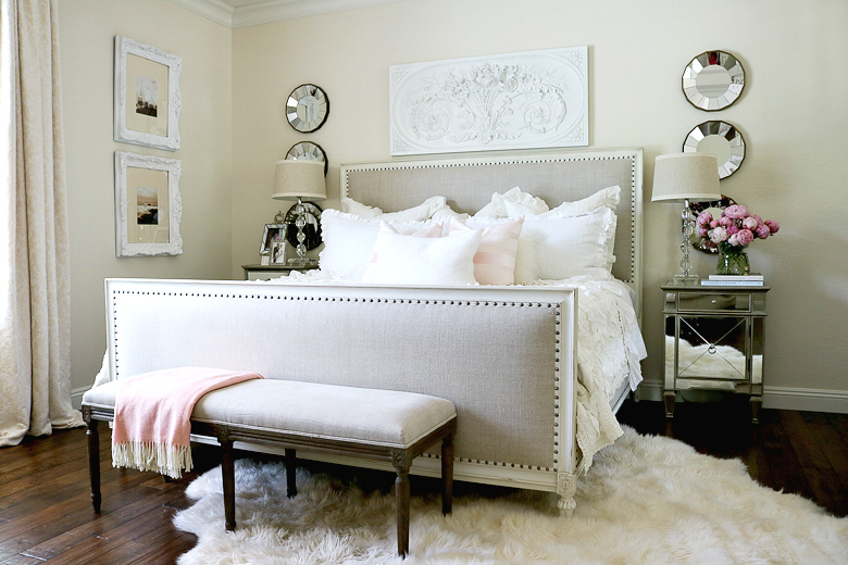 Summer master bedroom with pops of pink