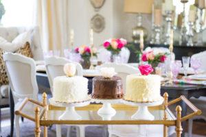 Gold bar cart for elegant dessert cart