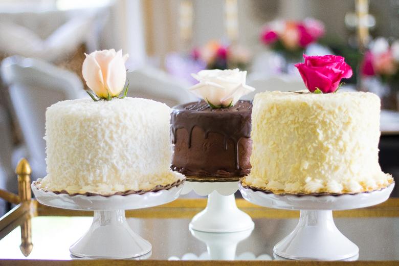 Bakery cakes with fresh roses for decoration by Randi Garrett Design