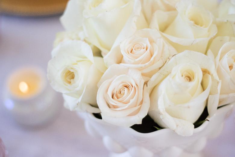 Easy white rose centerpiece