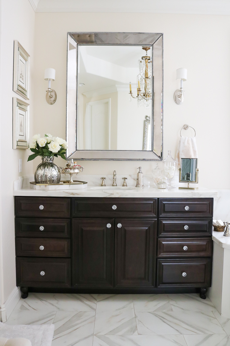 Elegant master bathroom remodel tour for Master bathroom cabinet designs