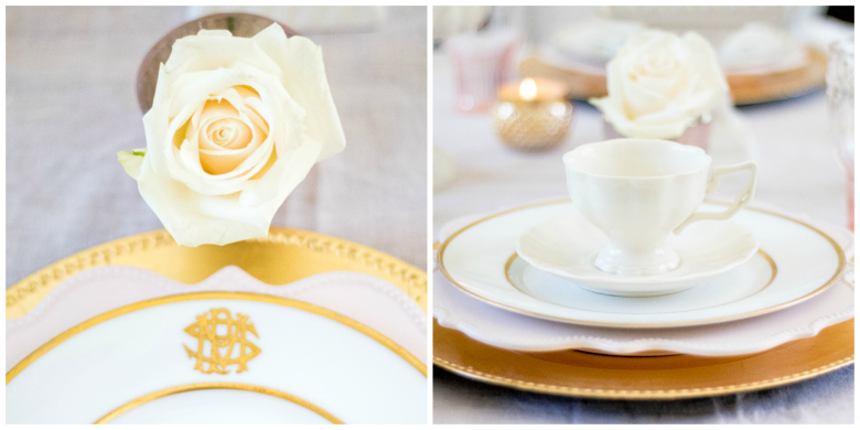 Elegant pink and gold place setting