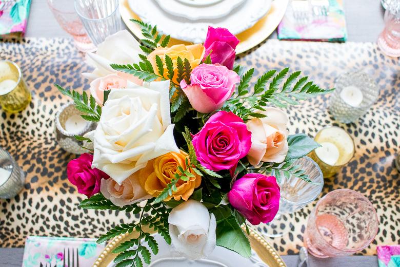 Leopard and floral tablescape by Randi Garrett Design