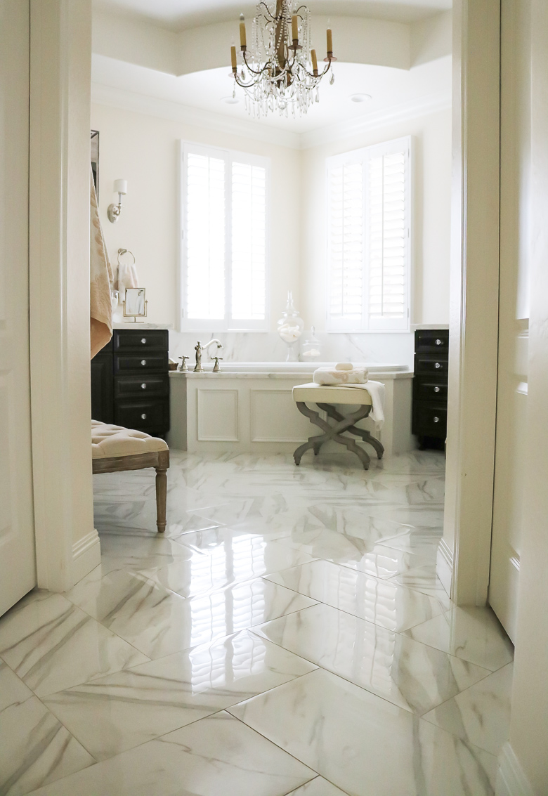 Light and bright Elegant Master Bathroom Remodel