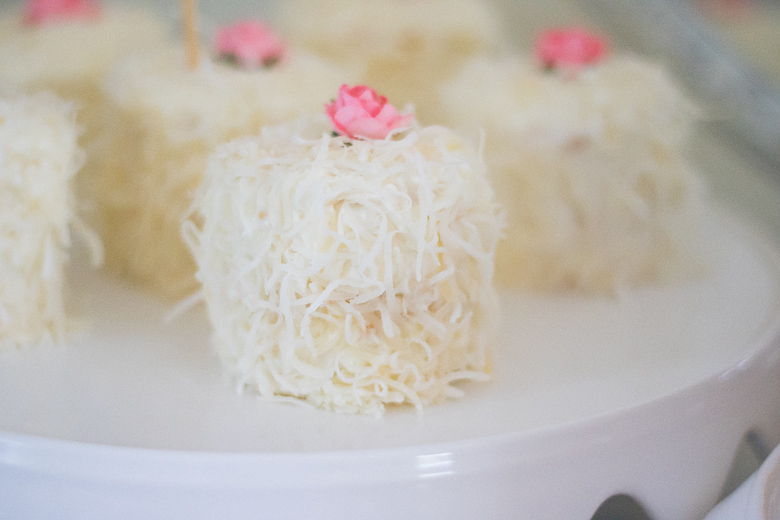 Mini Coconut lemon cakes with pink paper flowers