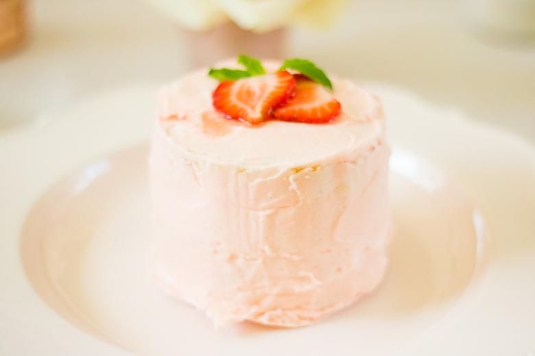Mini Vanilla Bean Cake with Strawberry Frosting