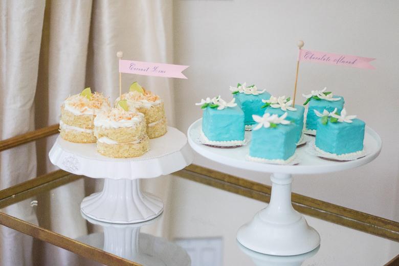 Mini cakes on bar cart